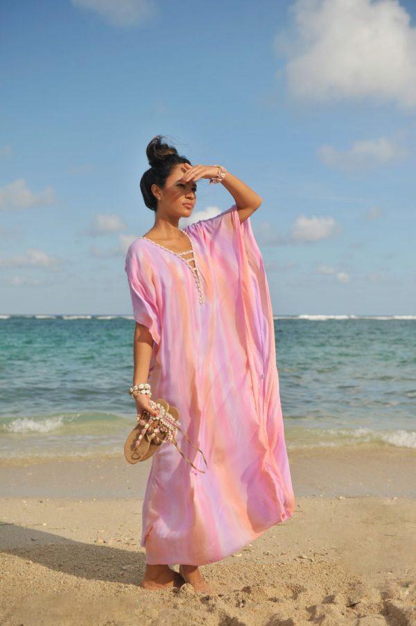14. A20299 Poncho Shell Long Papagayo Pink