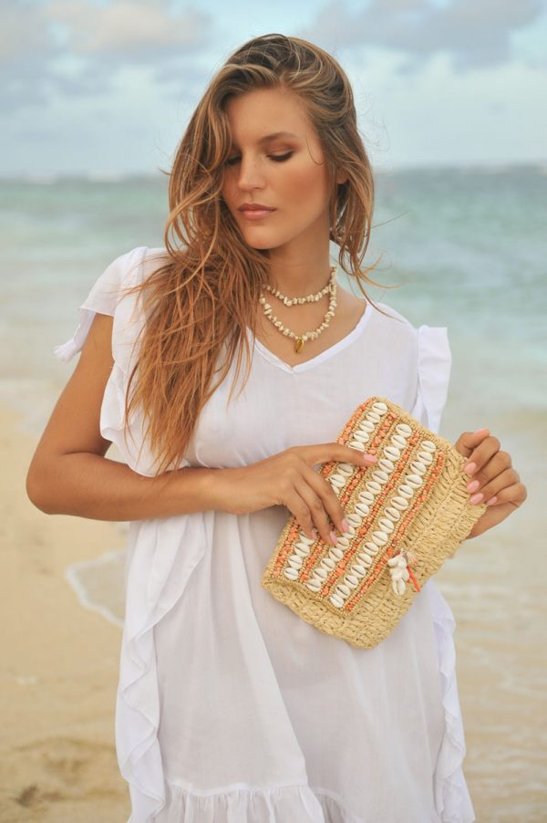 101. ERB10558 Necklace Indy Ivory Golden Shell And ERB10575 Clutch Coachella Coral