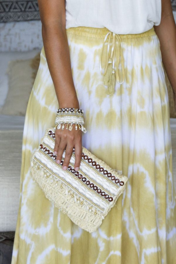 96. ERB10212 Clutch Mykonos Natural And KR20279 Bracelet Mykonos Natural