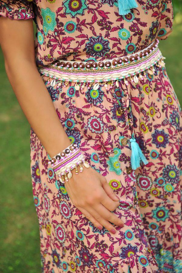 KR2085 Bracelet Mykonos Pink Azure and ERB10416pi Belt Mykonos Pink Azure